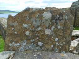 Texture and pattern in Devonian sedimentary rocks used for building stone walls on a over 2000 years ago
