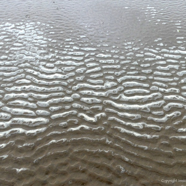 Natural patterns of sea foam on the beach
