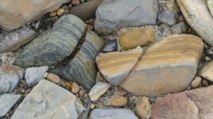 Interesting beach stones at Waulkmill Bay in Mainland, Orkney