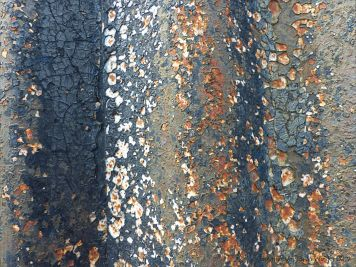 Textures produced by weathering on corrugated iron