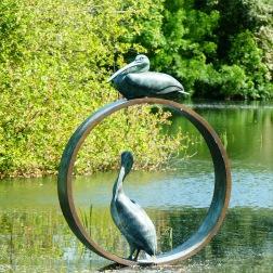 Bronze sculpture of pelicans