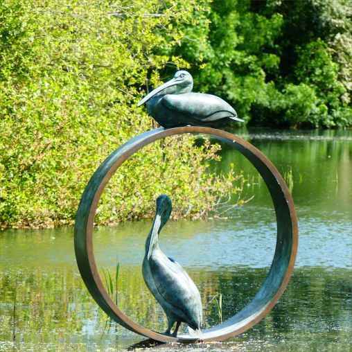 Bronze sculpture of pelicans