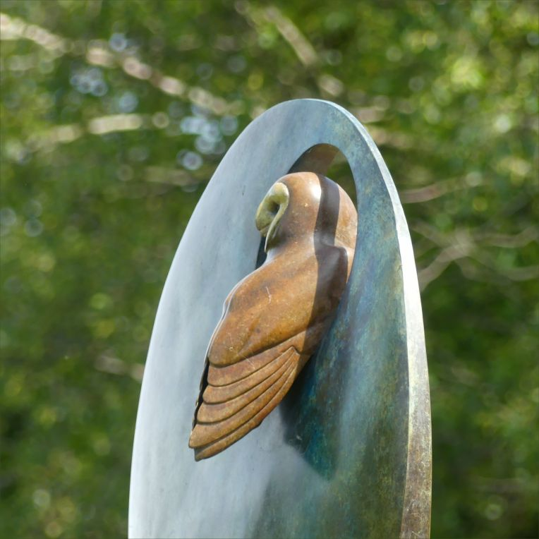 Bronze barn owl sculpture by Simon Gudgeon