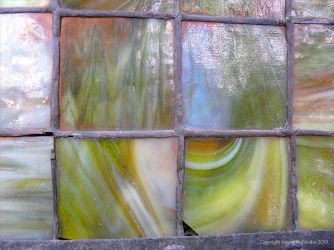 Historic coloured glass window panes