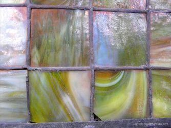 Historic coloured glass window panes