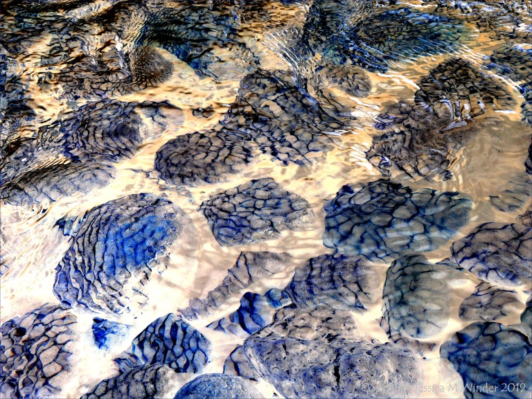 Natural patterns of reflected light on river-bed pebbles