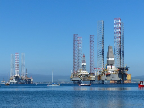 Oil rigs parked in the Cromarty Firth in Scotland