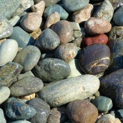 Pebbles at Gun Landing Cove in Cape Breton, Nova Scotia