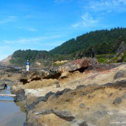 Remnants of a wave-cut platform of mostly fragmental basalt on the Oregon Coast