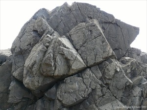 Geometric fracturing and angular blocks in an outcrop of volcanic basalt on an Oregon beach