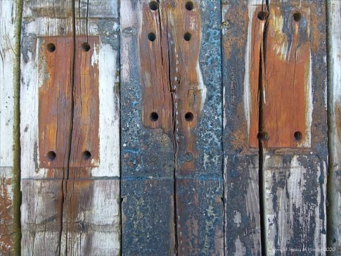 Recycled weathered railway sleeper texture and pattern