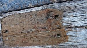 Wood texture in recycled railway sleepers