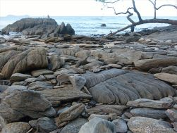 Granite bedrock and boulders on Trinity Beach