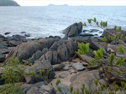 Granite bedrock and boulders on Trinity Beach