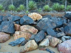 Rock armour at Trinity Beach in Queensland