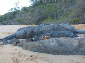 Rock outcrop with veins on Trinity Beach in Queensland