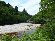 Pebble beach by the River Garry at Killicrankie in Scotland