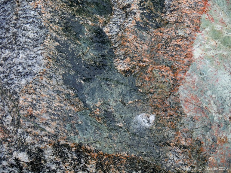 Close up photograph of metamorphic rock