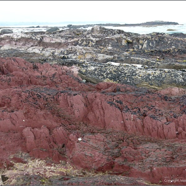 Red rocks on the seashore