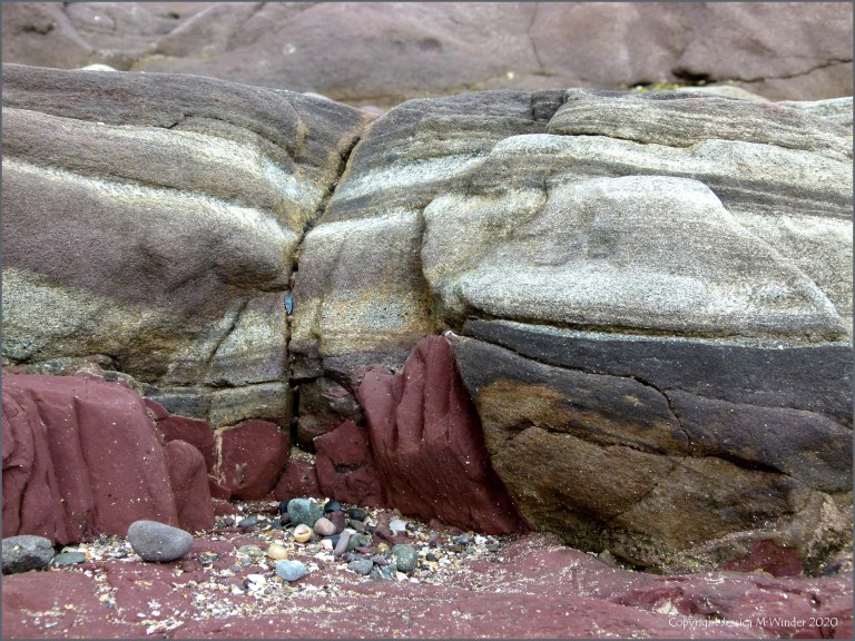Rock textures and colours on the seashore