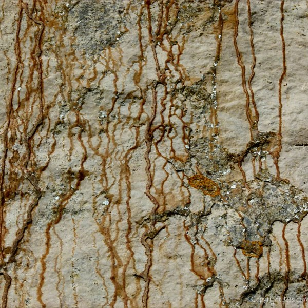 Iron-stained patterns on limestone rocks