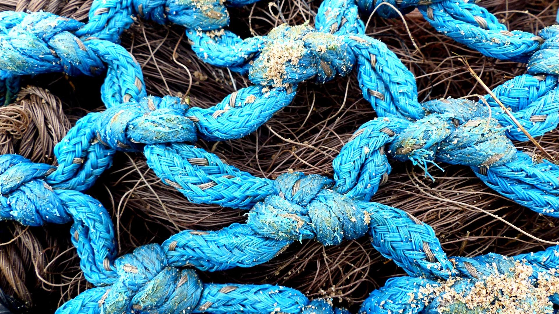 Fishing net washed up as flotsam on the beach