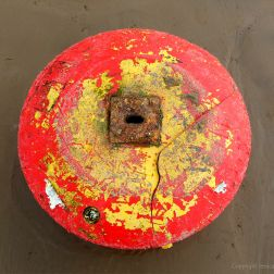 Close-up of red buoy washed up on sandy beach as flotsam