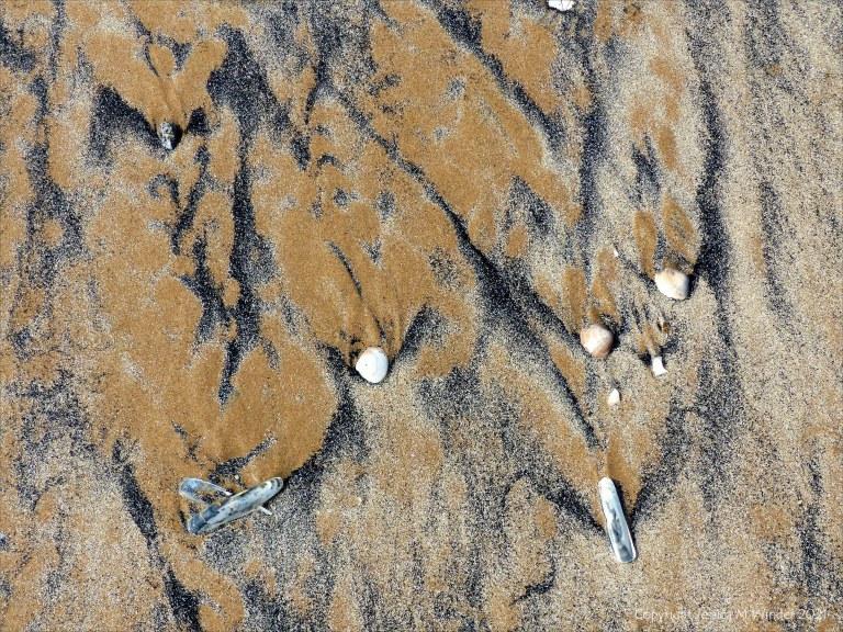 Patterns of fine black drift detritus on intertidal sand