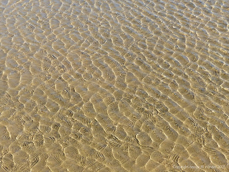 Patterns of reflected light on wind-driven ripples in a tidal pool over sand