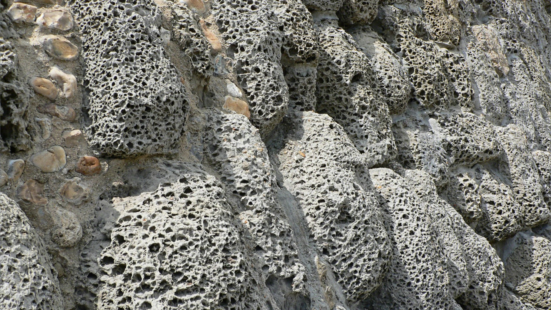 Rocks with holes caused by natural erosion in a sea wall