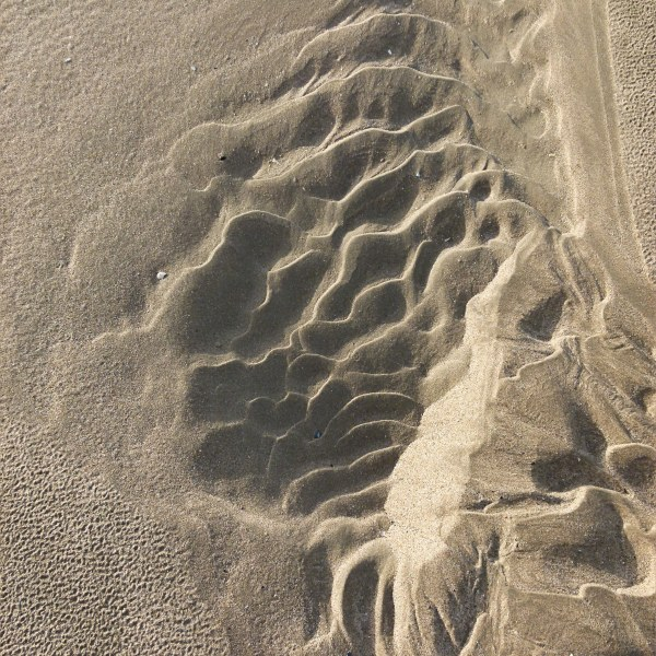 Asymmetrical sand ripple patterns on the beach